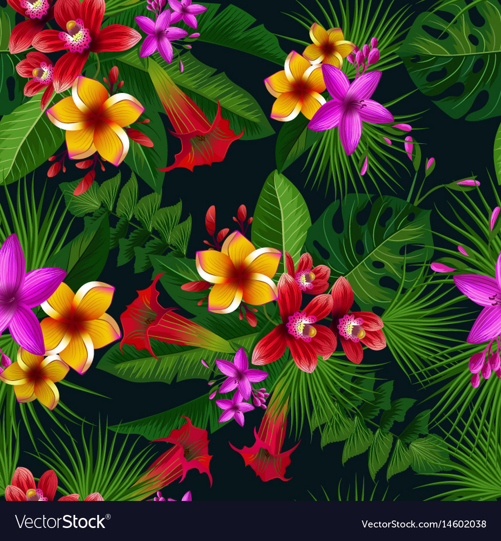 Exotic Summer Tropical Flowers Seamless Royalty Free Vector