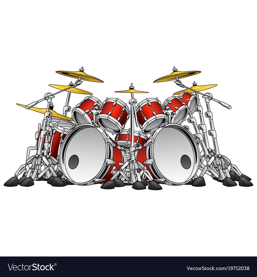Huge 10 Piece Rock Drum Set Royalty Free Vector Image