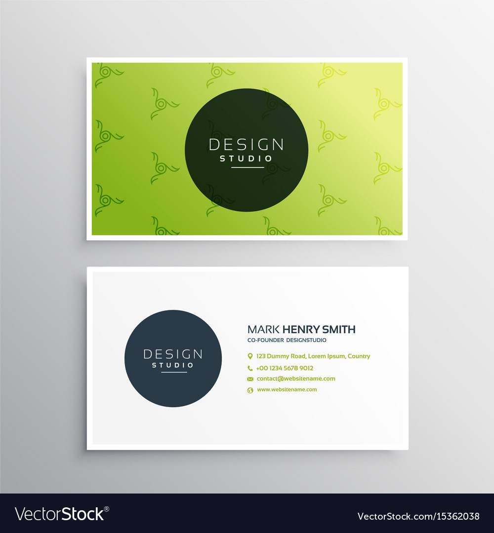 Minimal Green Business Card Design Template Vector Image