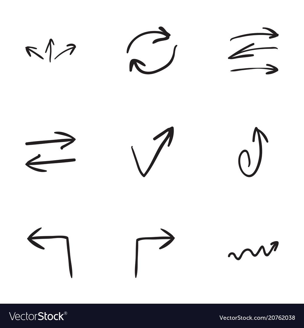 Set of 9 hand drawn arrow icons