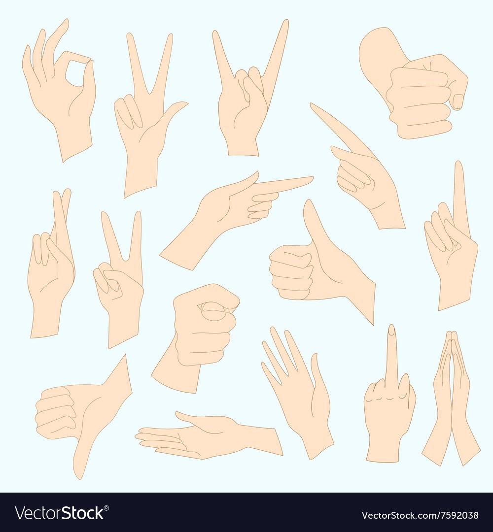 Set of universal gestures of