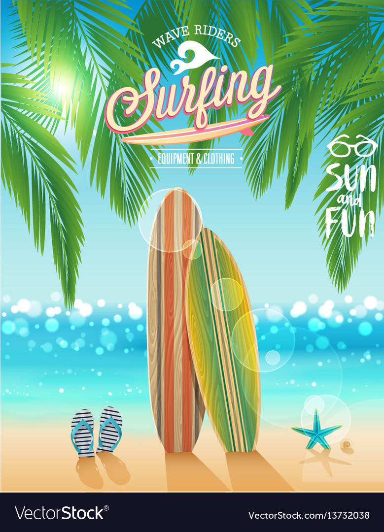 Surfing poster with tropical beach background