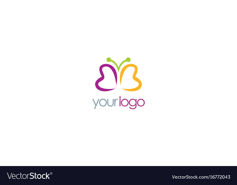 Abstract butterfly line logo vector image