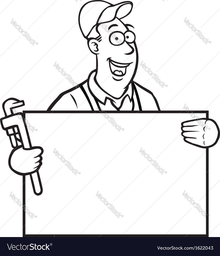 Black and white plumber with sign vector image