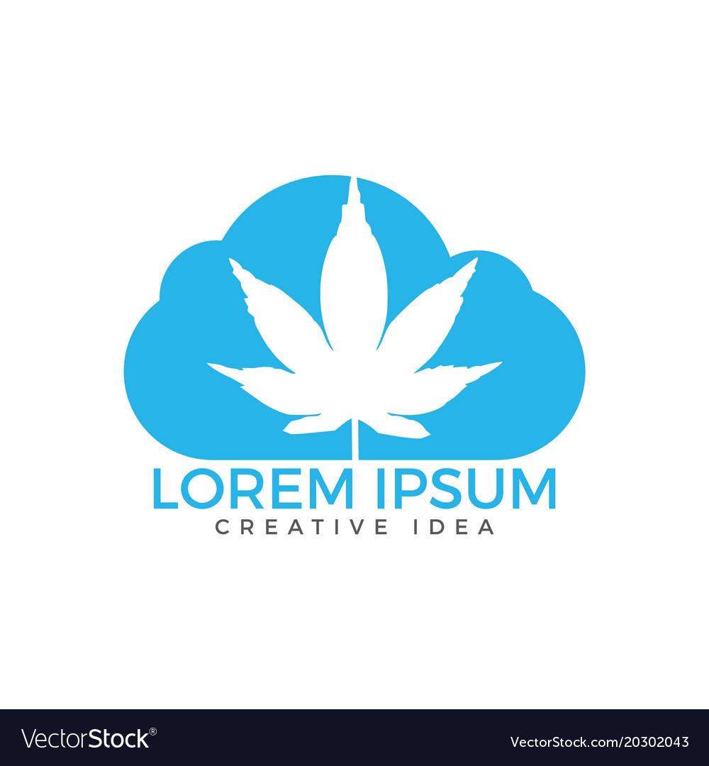 Cloud or smoke with marijuana leaf logo design