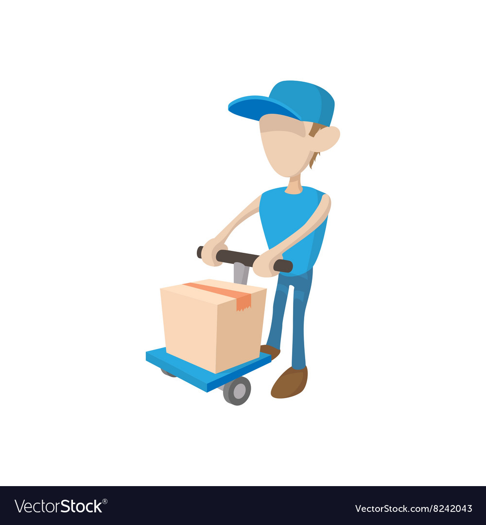 Delivery man with cart icon cartoon style vector image