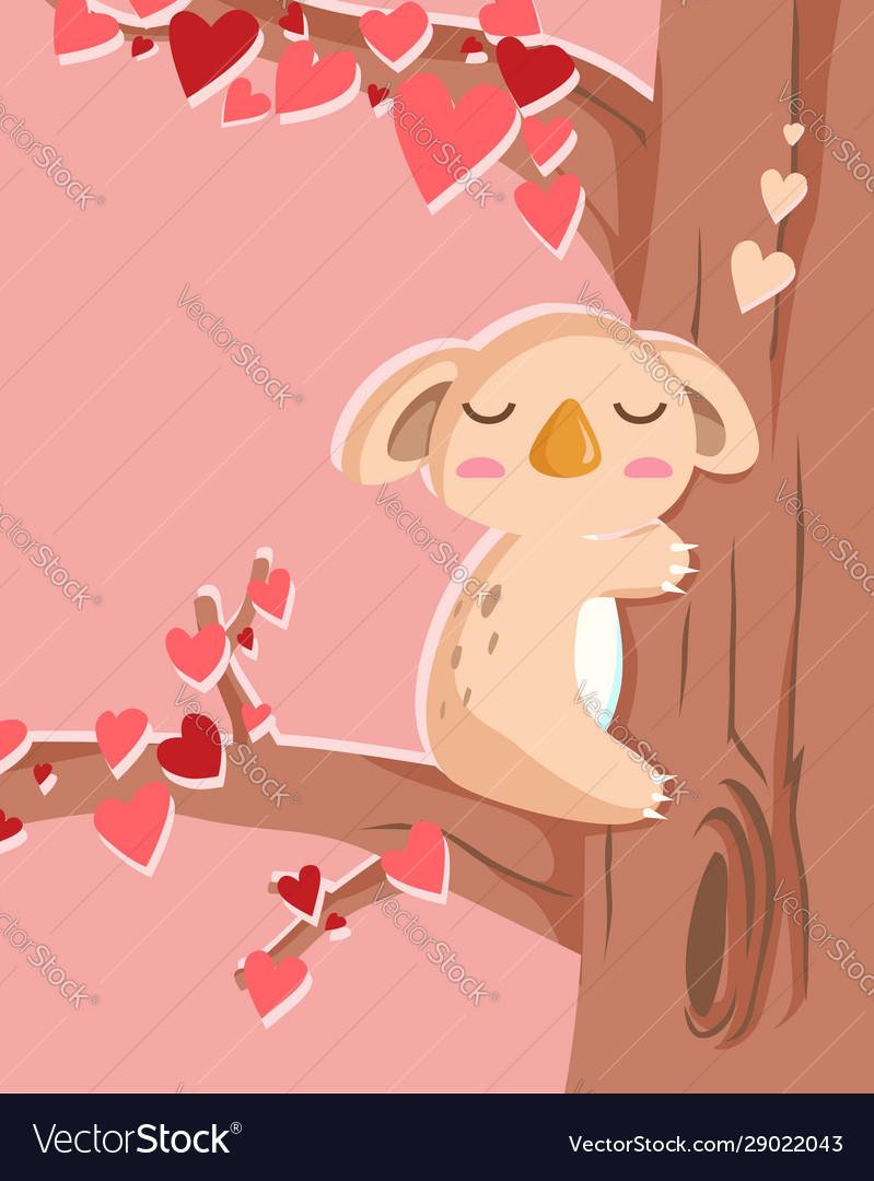 Happy valentines day with koala bear in love