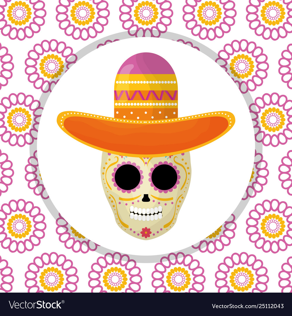 Mexican skull death mask with mariachi hat in
