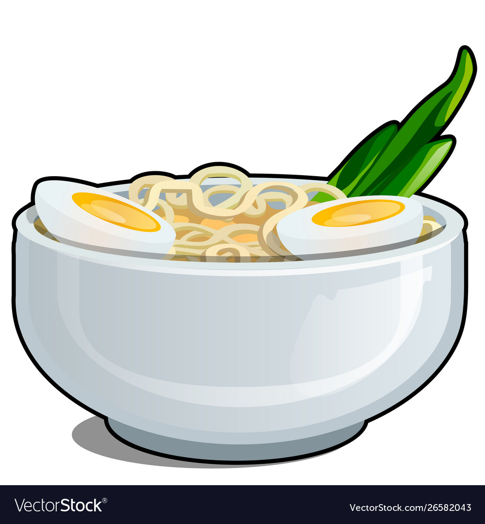 Porcelain bowl with egg noodles and a cut in half
