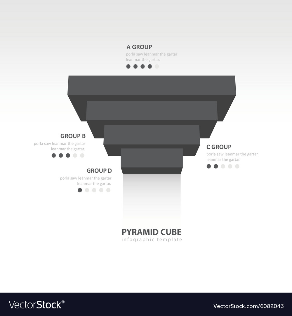 Pyramid cube upside down infographic template