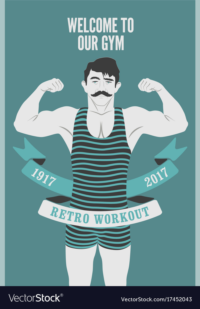 3f67a53e952a5f Retro gym poster design with strong man Royalty Free Vector