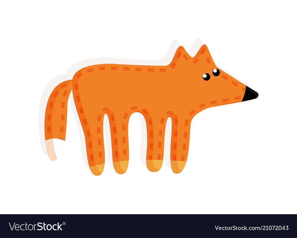 Sticker fox fluffy tail toy vector