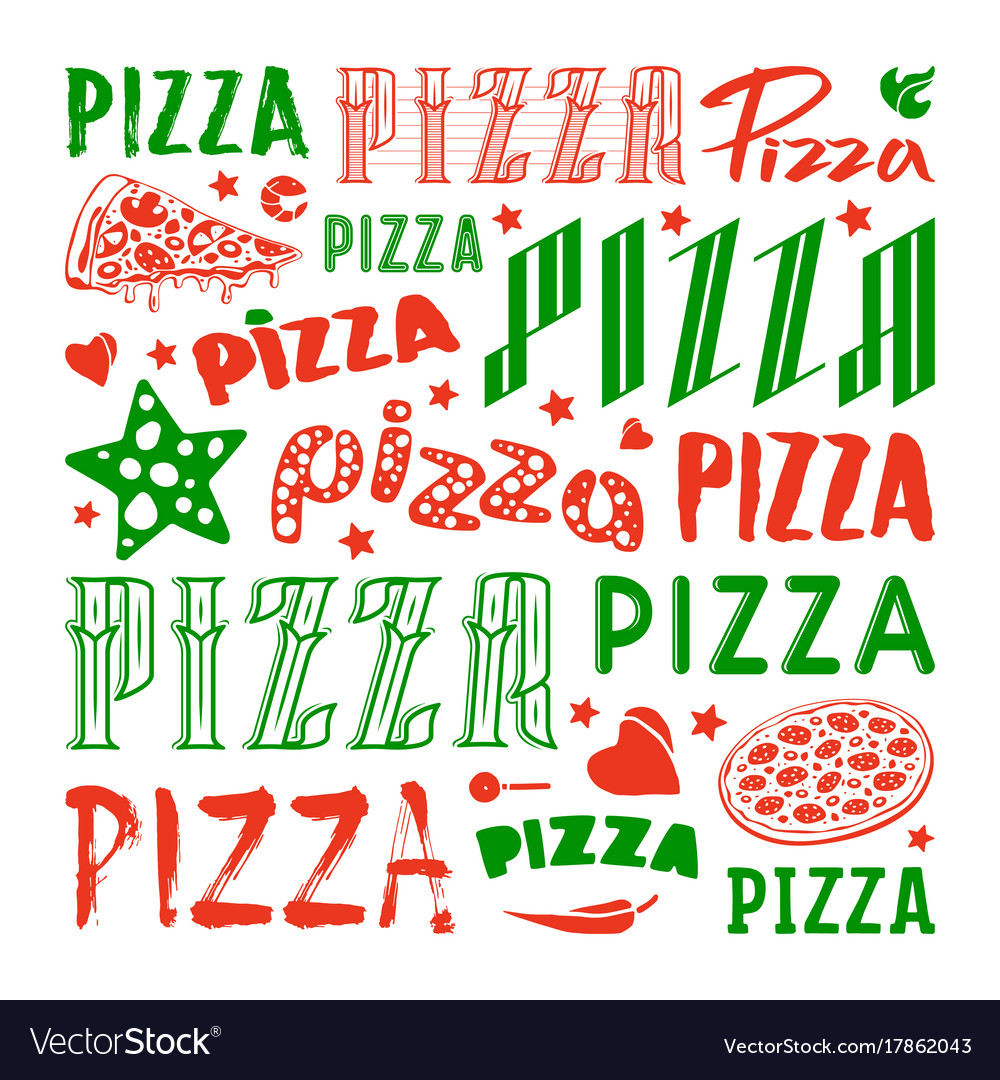Stock set of typographic pizza logo and cover