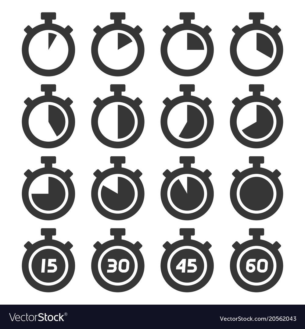 Stopwatch icons set on white background