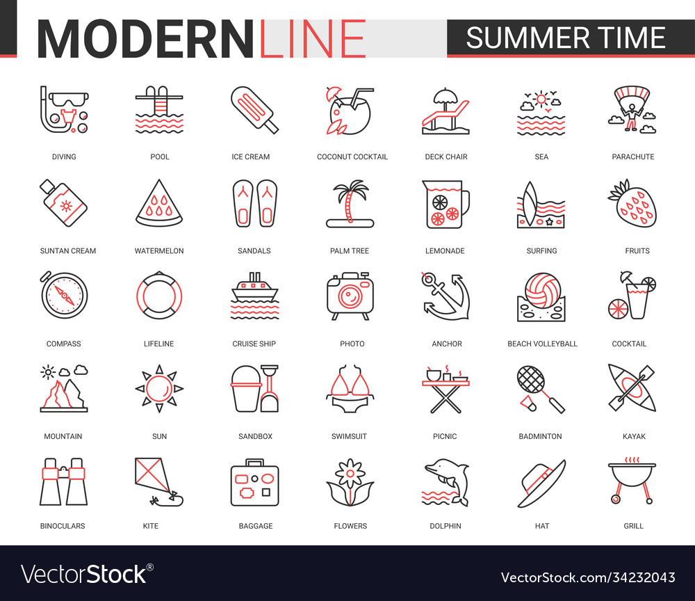 Summer time thin red black line icon