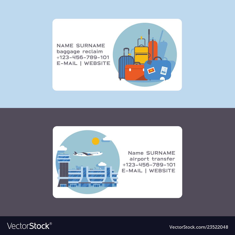 Airport plane flight business card