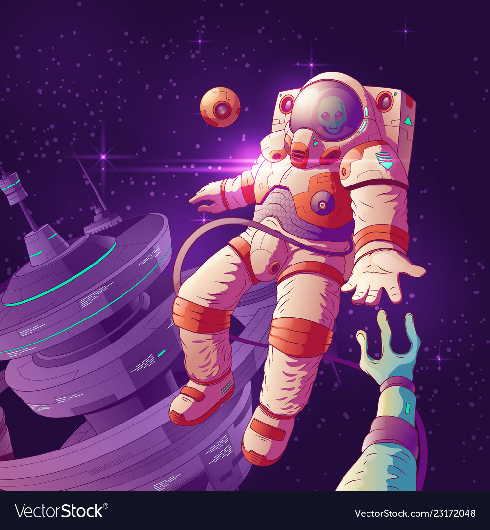 Astronaut contact with alien in space