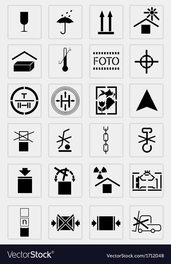 Black marking cargo icons set