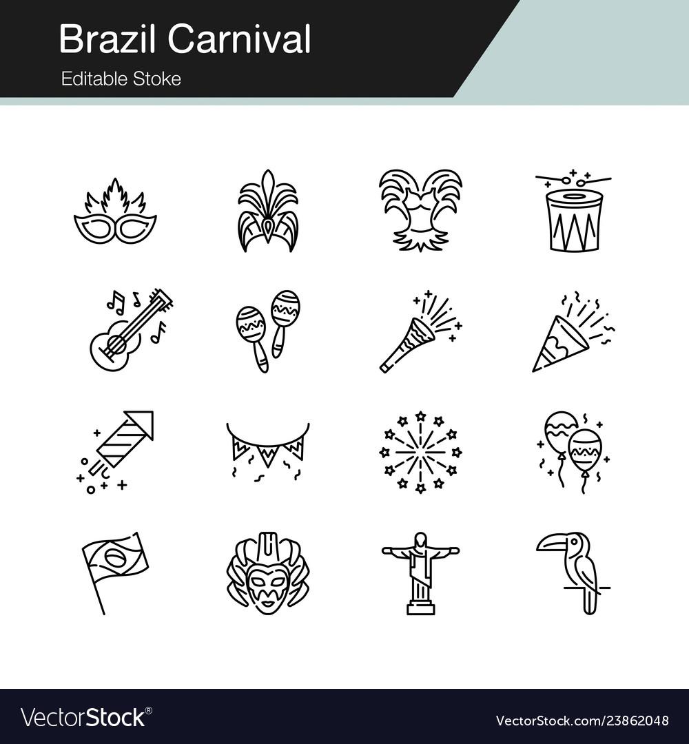 Brazil carnival icons modern line design