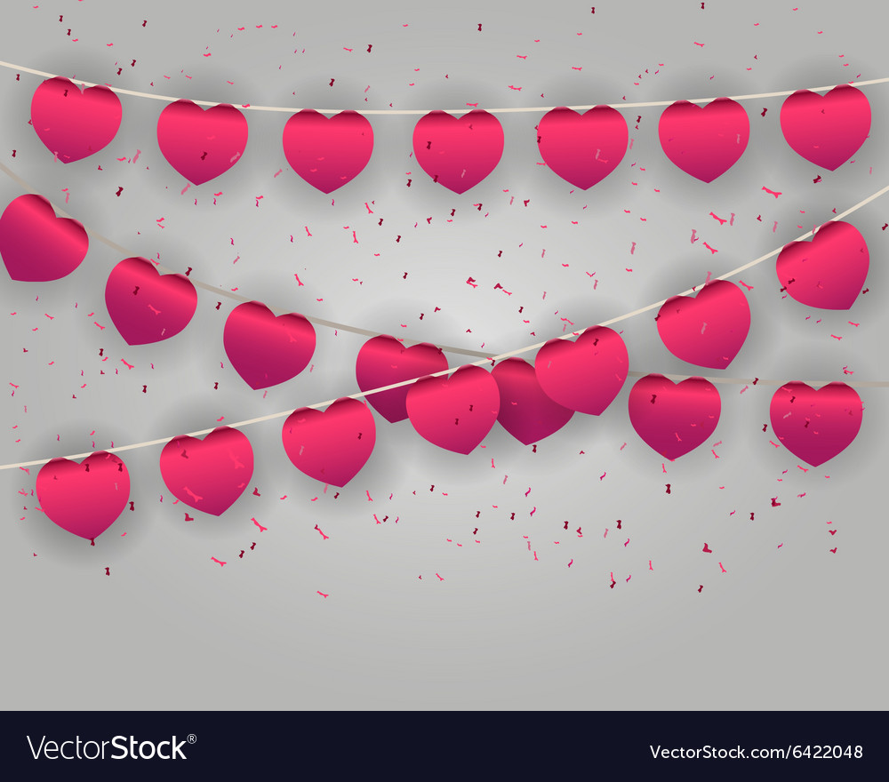 Celebrate heart banner with confetti