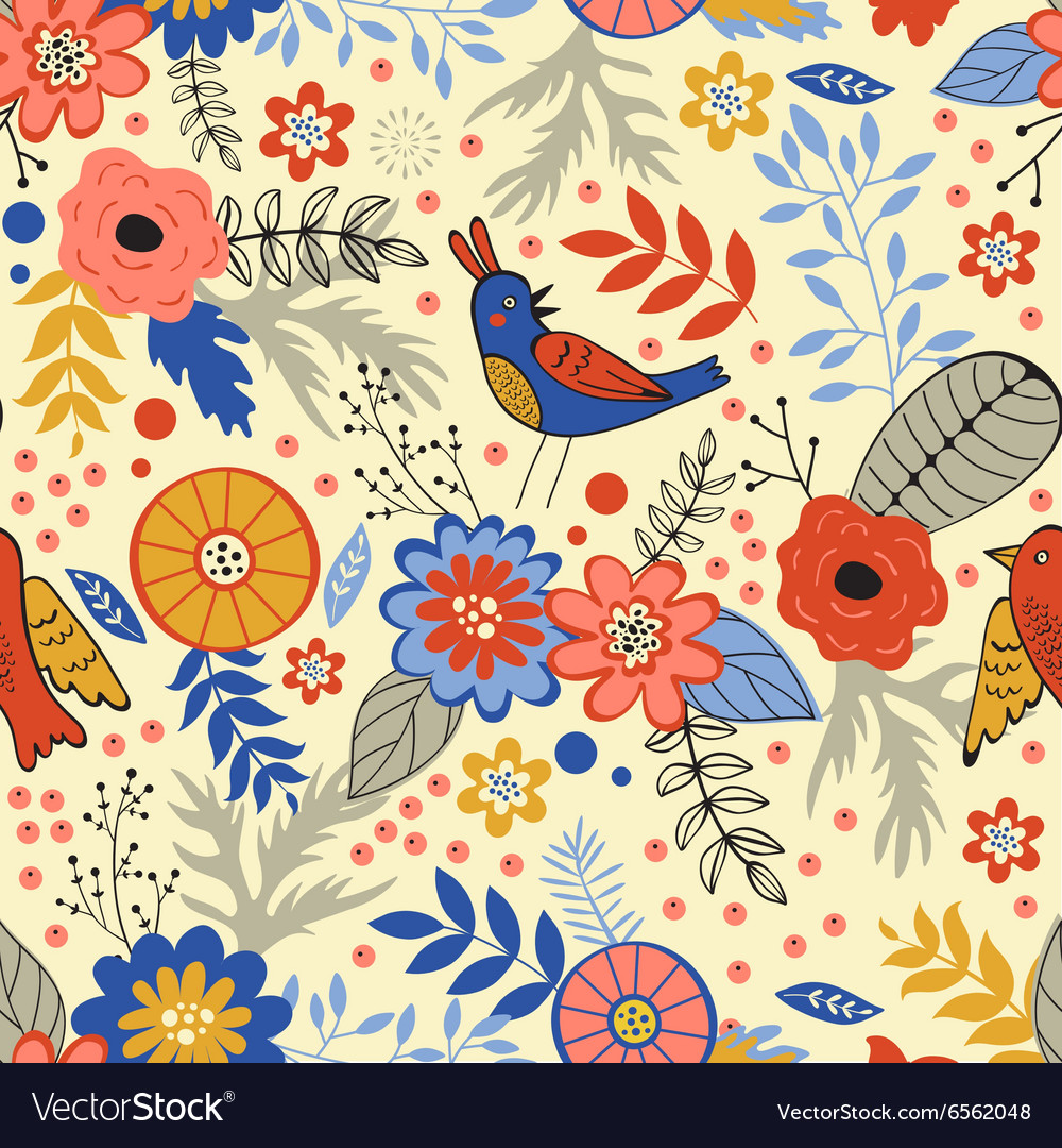 Colorful seamless pattern with birds and blooming