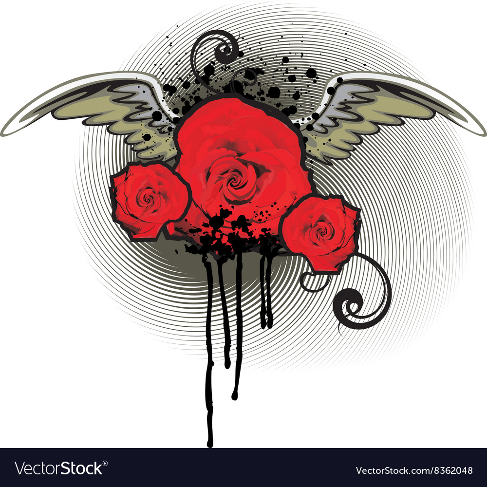 Grunge Red Rose Design