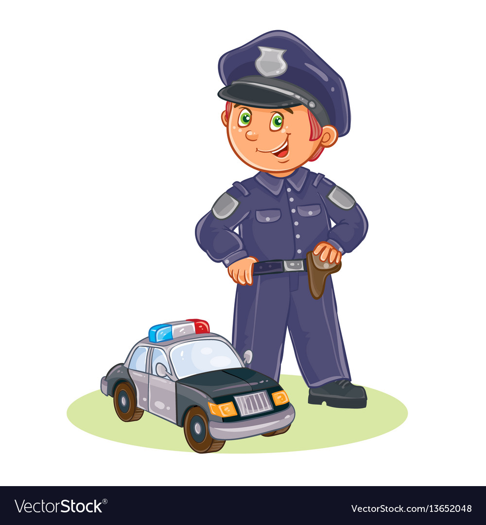 Icon of small child policeman and his car vector image