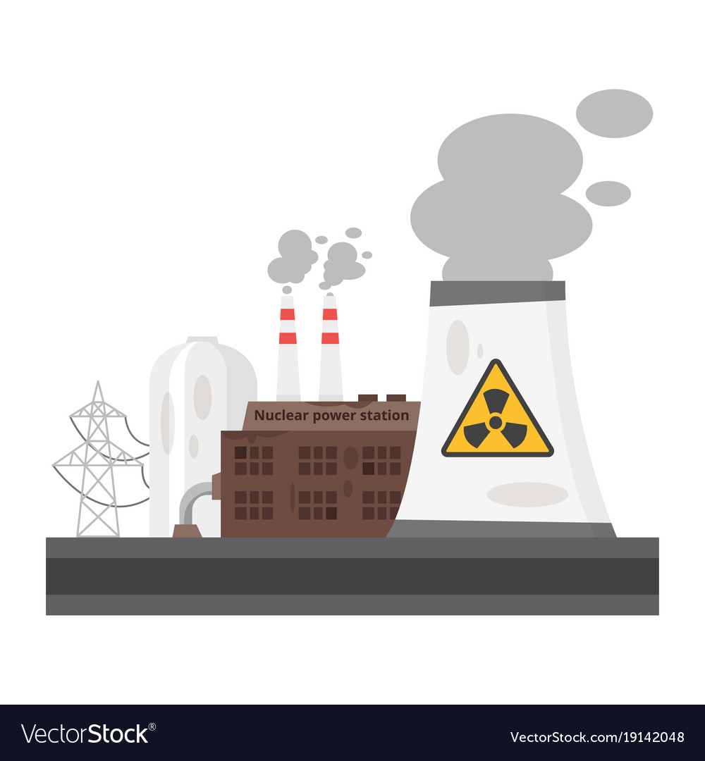 Old Nuclear Power Plant Royalty Free Vector Image With Diagram