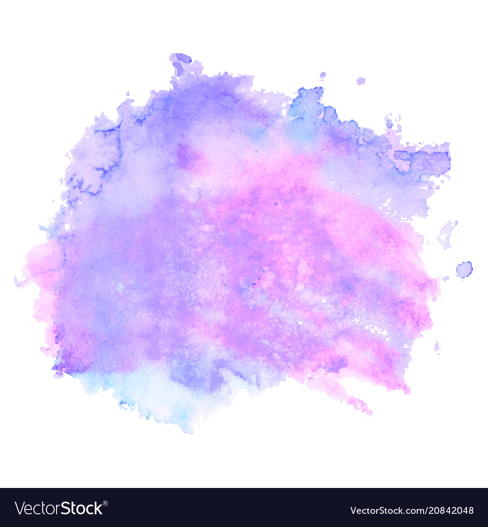 Purple watercolor stain isolated on white