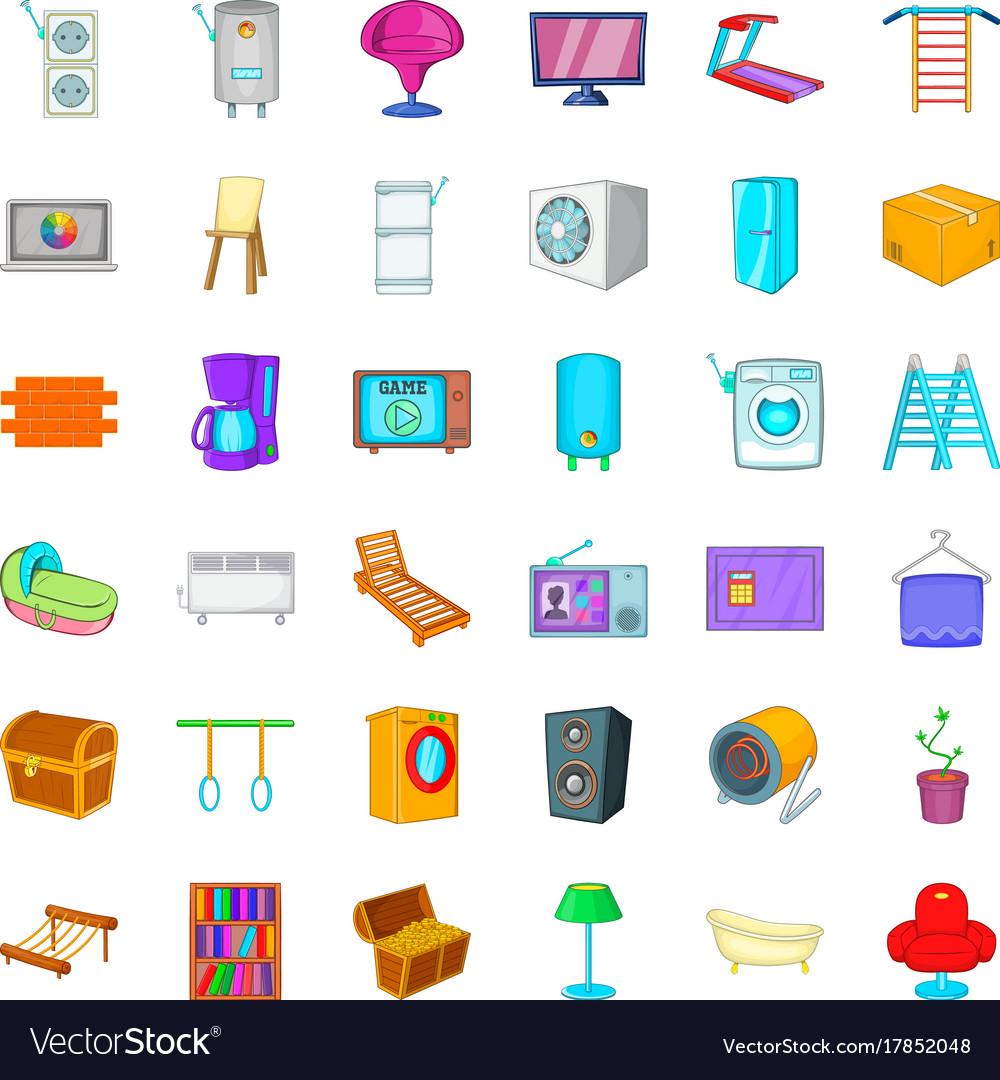 Refrigerator icons set cartoon style