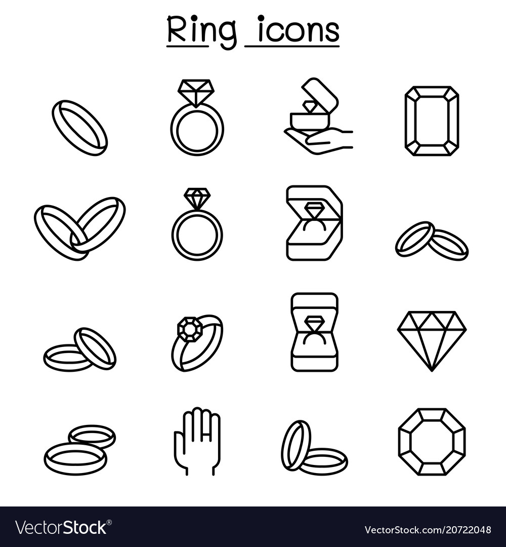 Ring icon set in thin line style