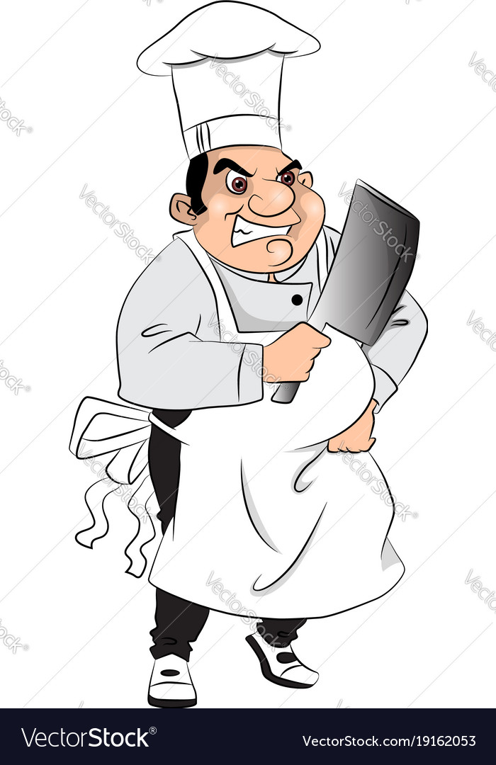 Aggressive butcher with meat cleaver vector image