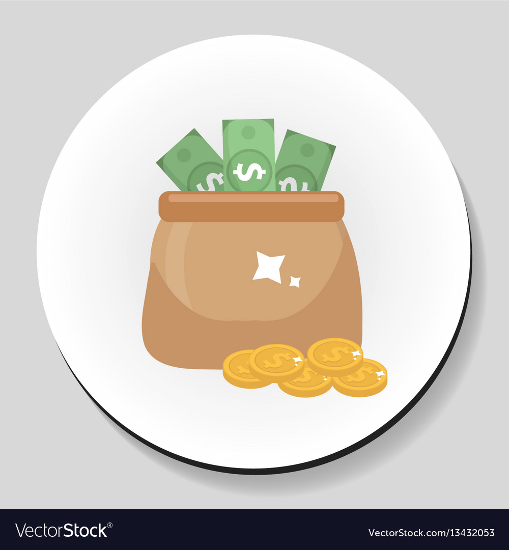 Bag of money and coins sticker icon flat style