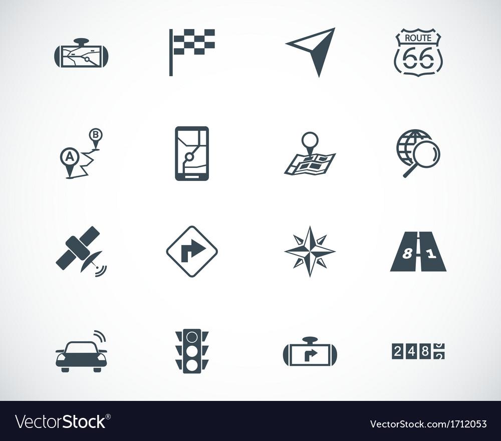 Black navigation icons set