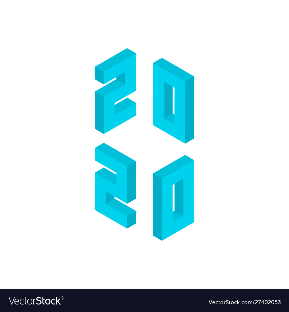 Blue 2020 numbers isometric object