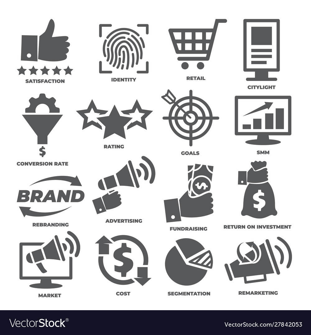 Business management icons marketing and cost