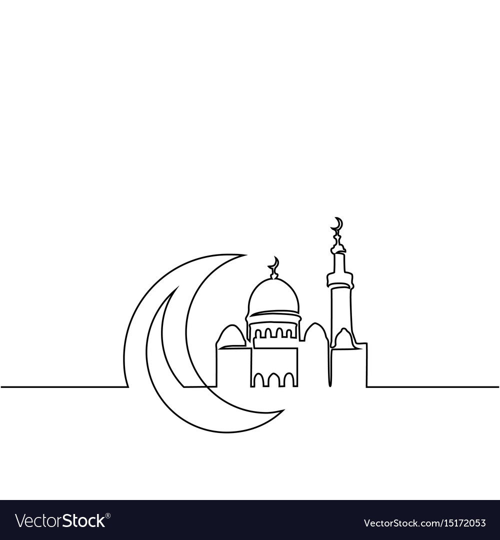 Continuous line drawing of mosque with moon