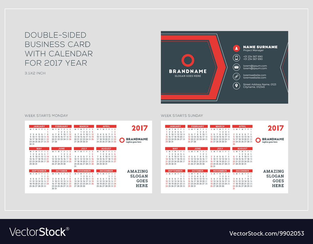 Double Sided Business Card Template With Calendar Vector Image