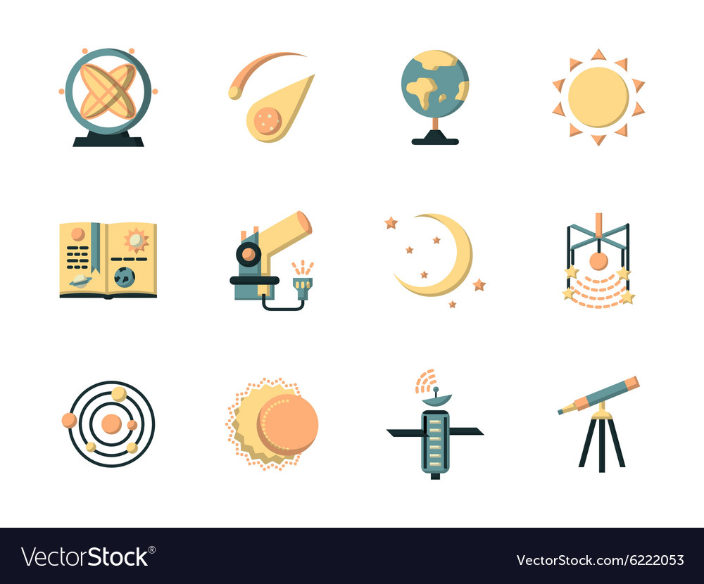 Flat color icons for space vector image