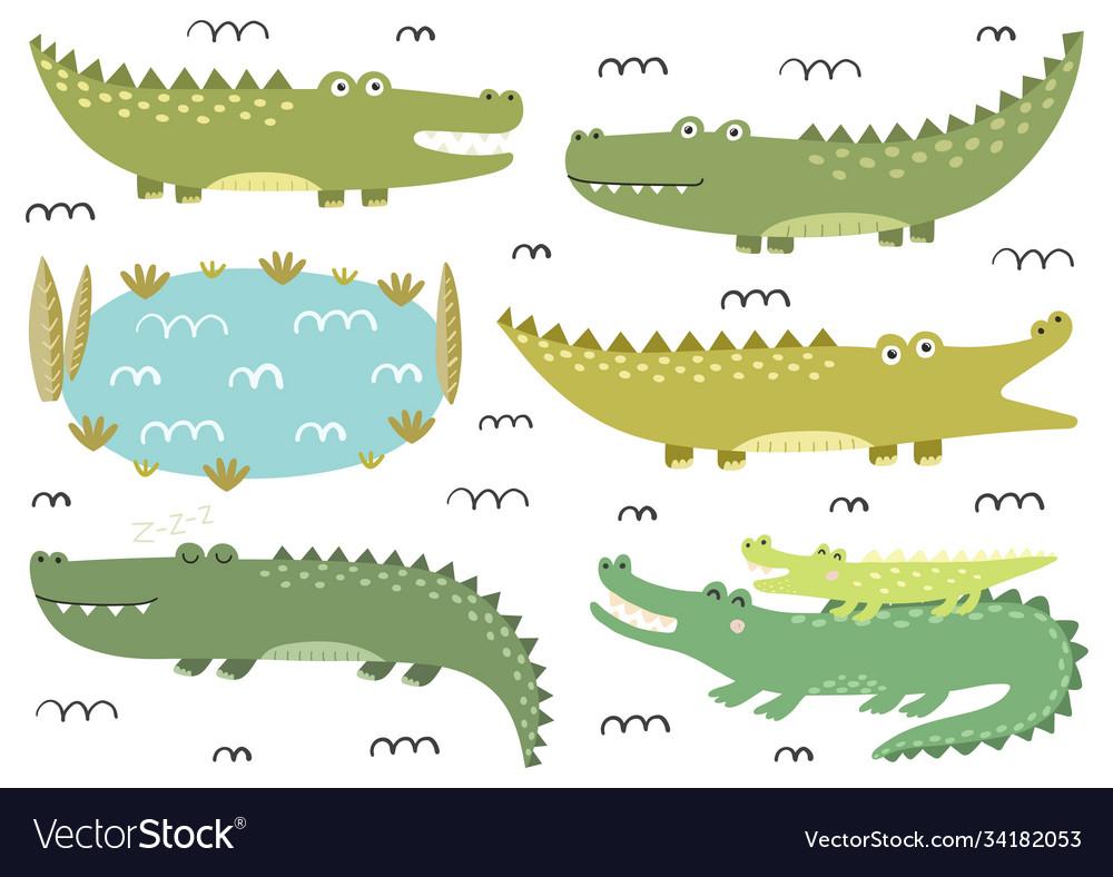 Funny crocodiles collection cute alligators in