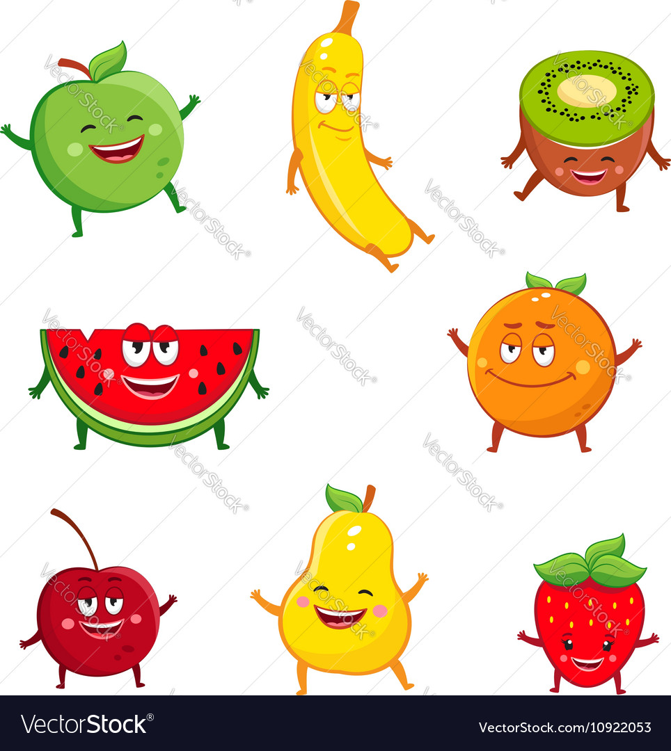 Funny fruits characters cartoon set