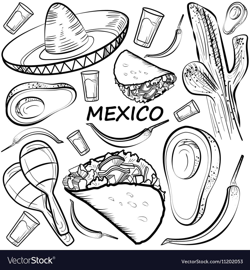 Hand drawn doodle Mexico set