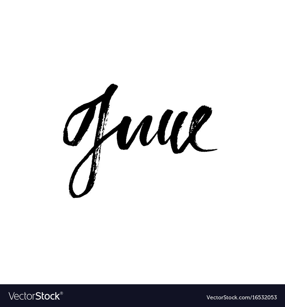Hand Drawn Typography Lettering June Month Vector Image
