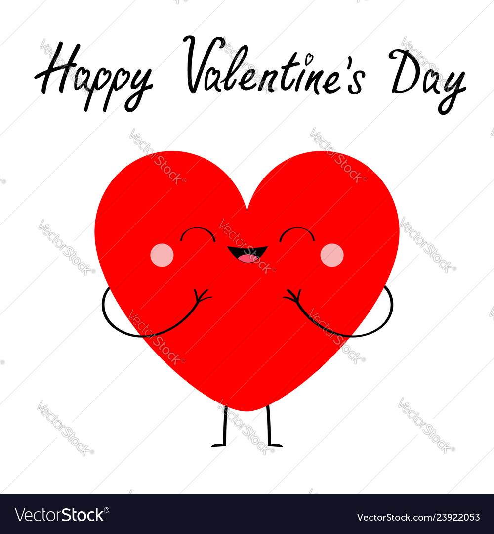 Happy valentines day red heart icon cute cartoon