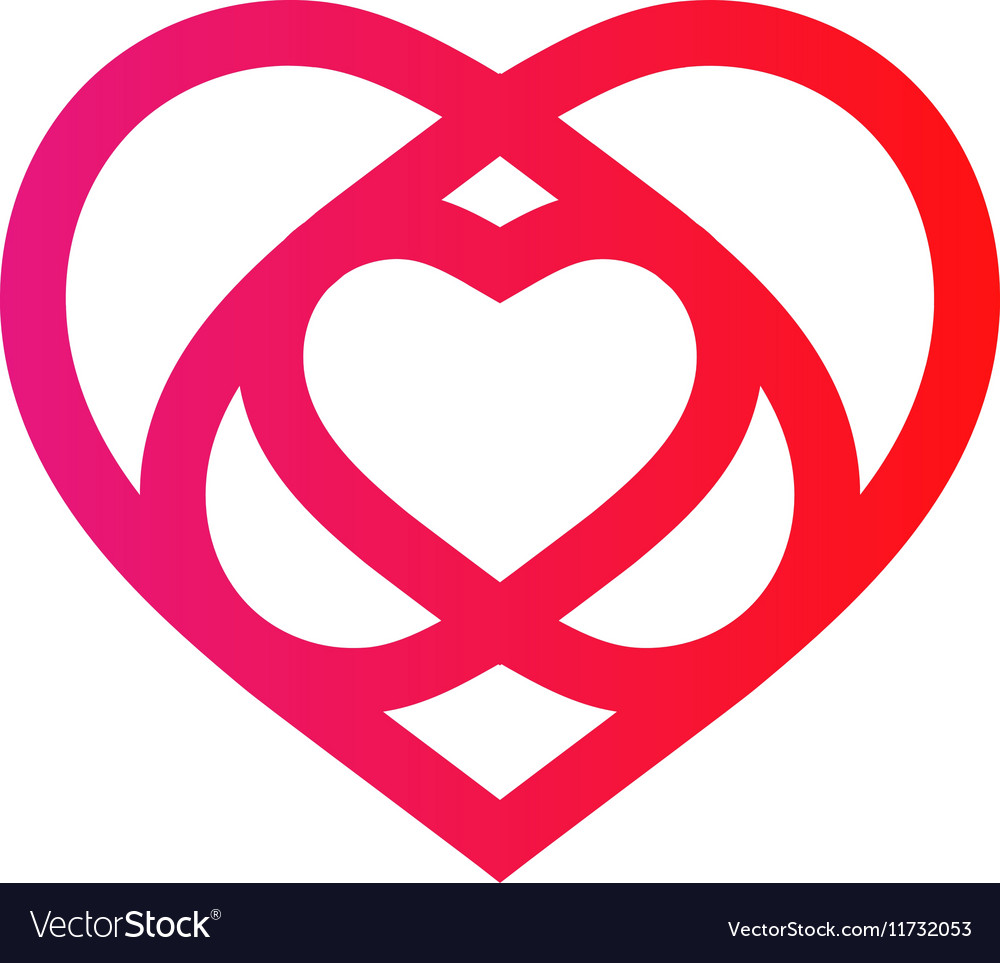 Isolated crimson abstract monoline heart logo