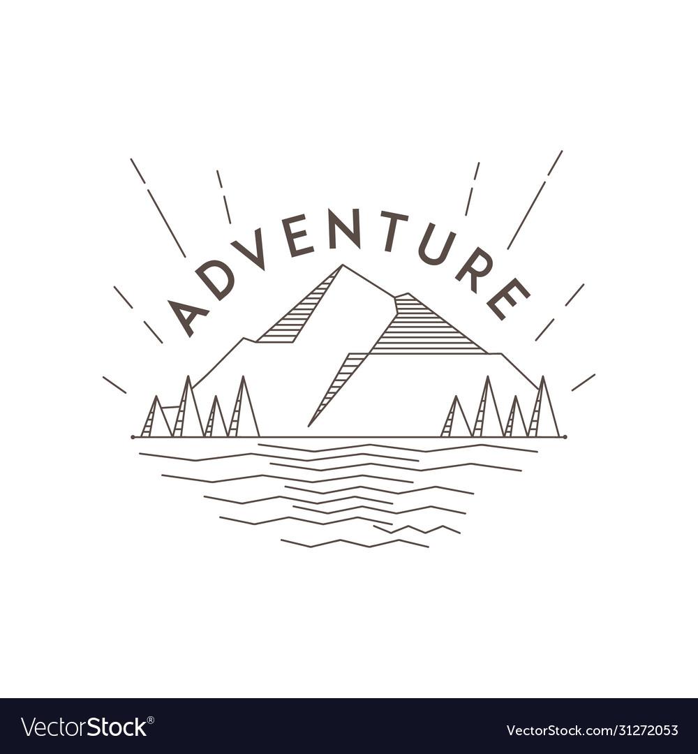 Line art mountain adventure landscape logo