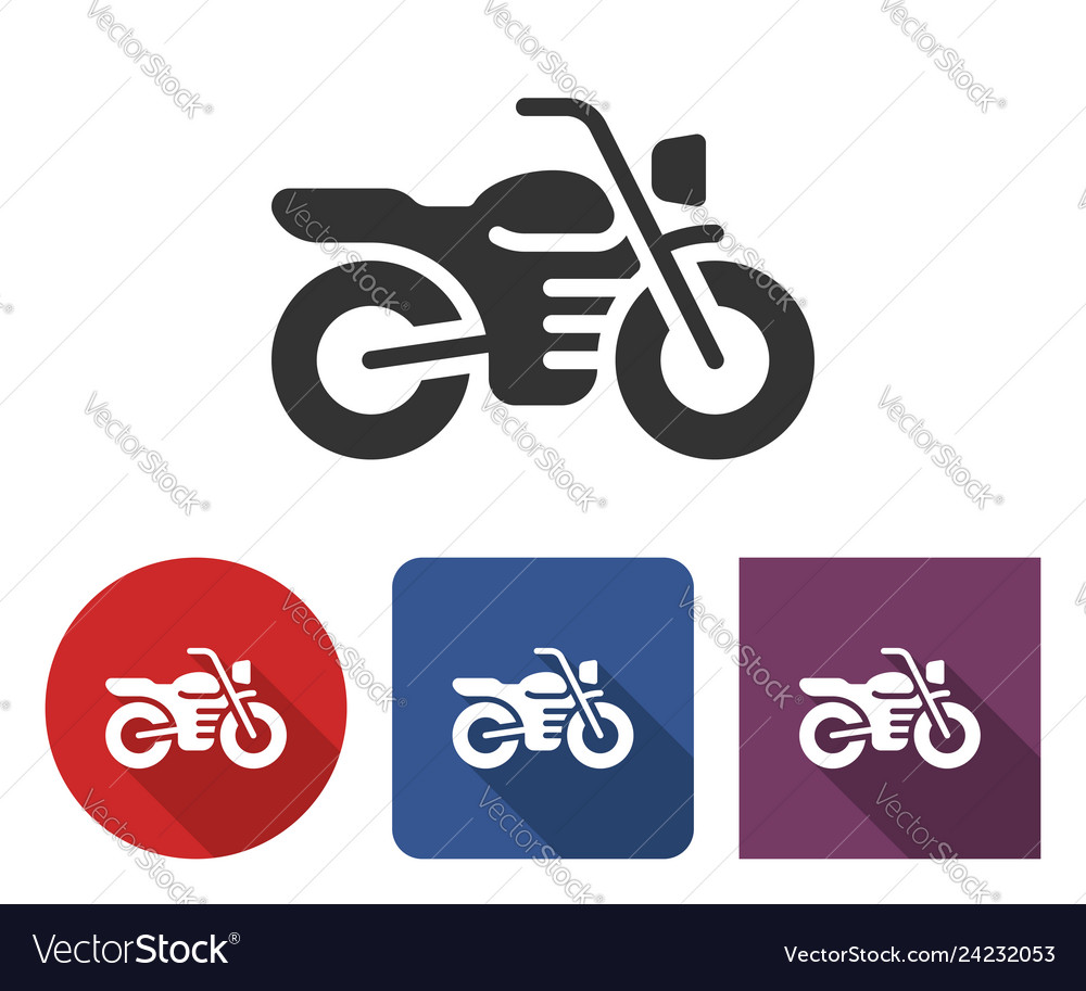 Motorcycle icon in different variants with long
