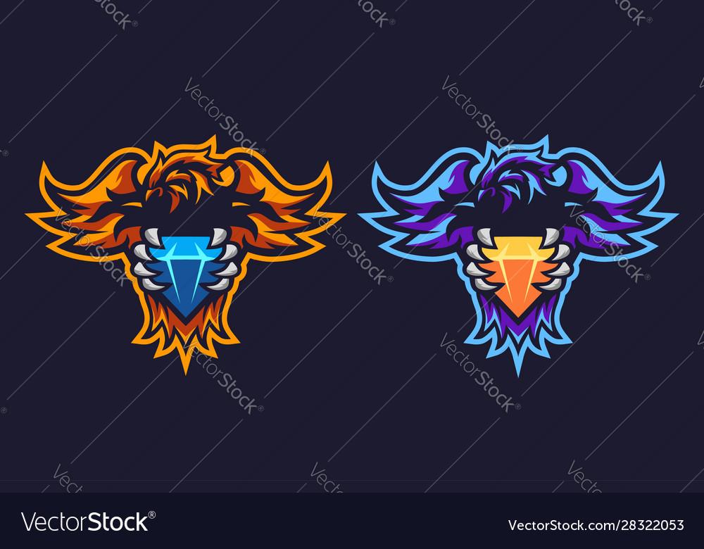 Phoenix Diamond Esport Logo Design Royalty Free Vector Image