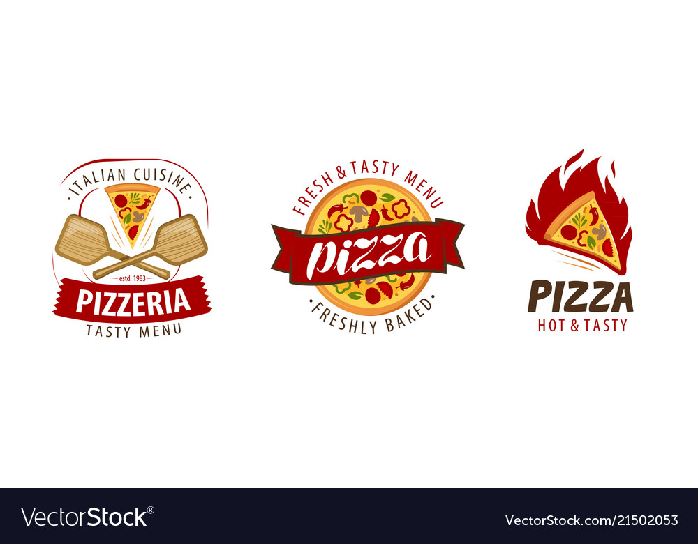 Pizza logo or label pizzeria food concept