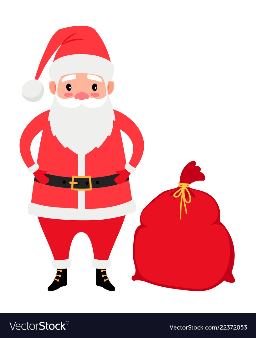 Santa claus and gifts bag